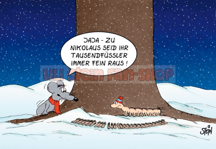 Postkarte Weihnachten /Nikolaus Tausenfüssler