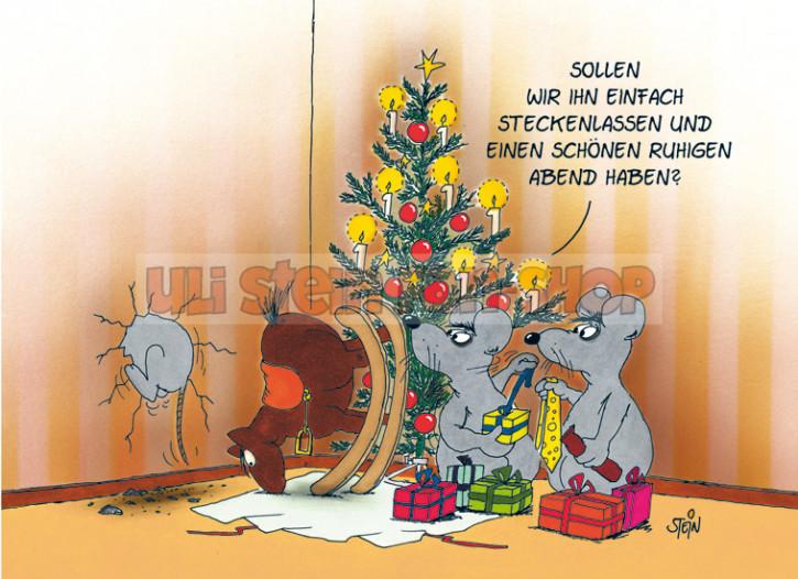Postkarte Weihnachten / Stecken lassen