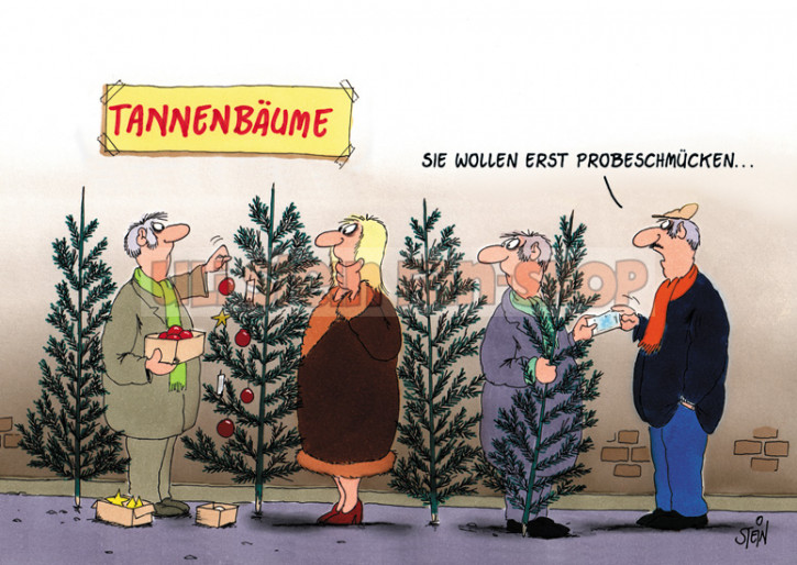 Postkarte Weihnachten / Tannenbäume