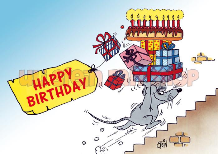 Postkarte Happy Birthday, Sausemaus