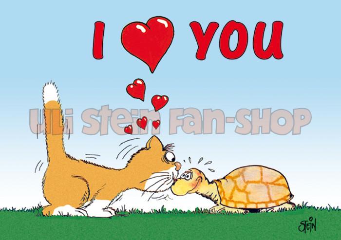 Postkarte I Love You, Katze Schildkröte