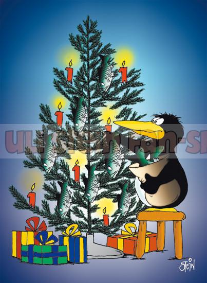 Postkarte Weihnachten / Baumschmuck Pingi