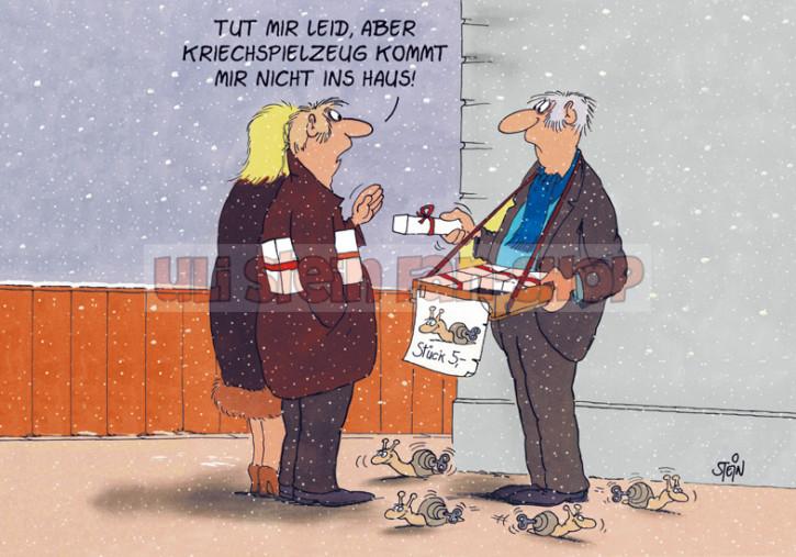 Postkarte Weihnachten / Kriechspielzeug