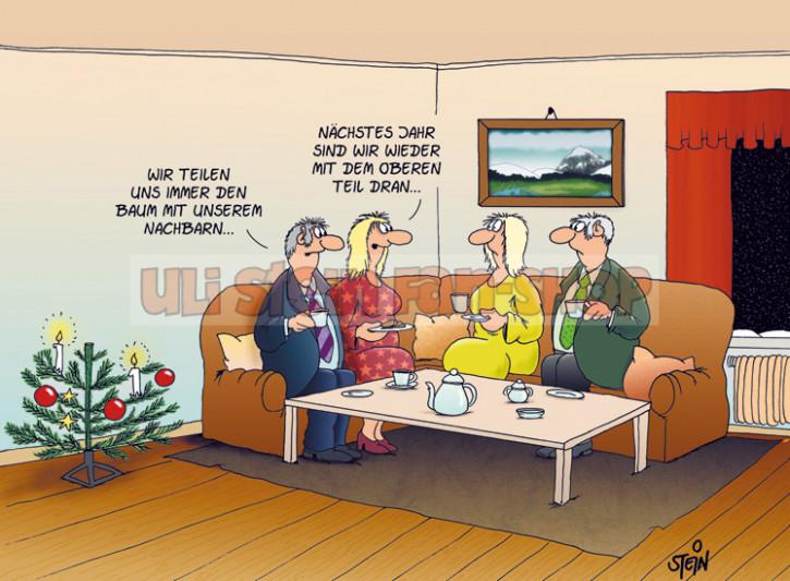 Postkarte Weihnachten / ... teilen uns einen Baum