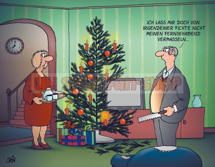 Postkarte Weihnachten / Fernsehabend