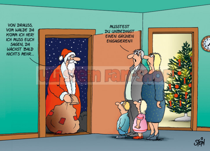Postkarte Weihnachten / Grüner Weihnachtsmann