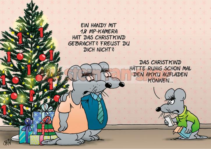 Postkarte Weihnachten / Akku aufladen