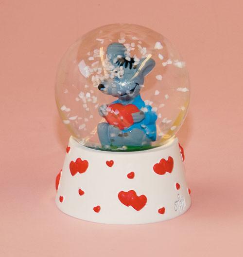 Schneekugel / Maus mit Herz
