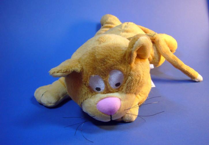 Plüsch Katze liegend, 30cm braun