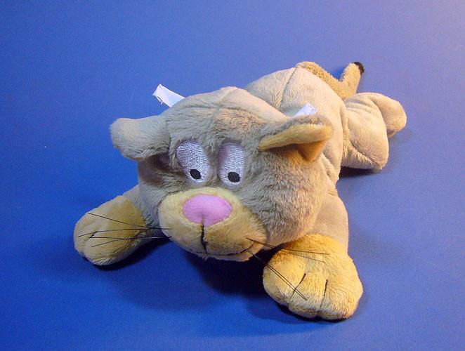 Plüsch Katze liegend, 20cm grau