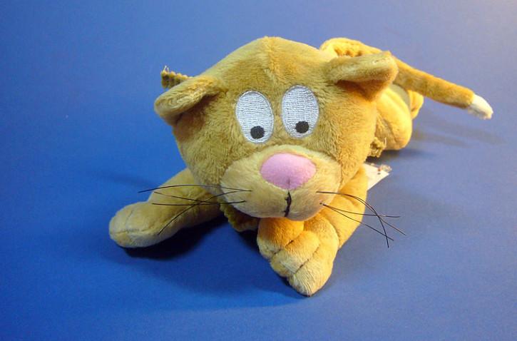 Plüsch Katze liegend, 20cm braun
