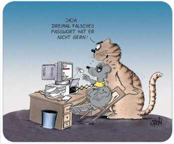 "Uli Stein Mousepad """"3mal falsches Passwort"