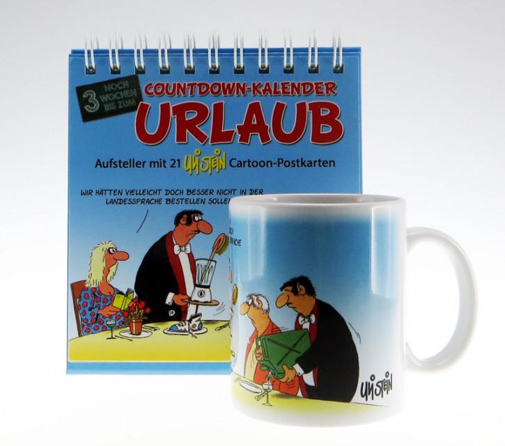 Uli Stein Countdown Kalender Set Urlaub, Kalender + Becher