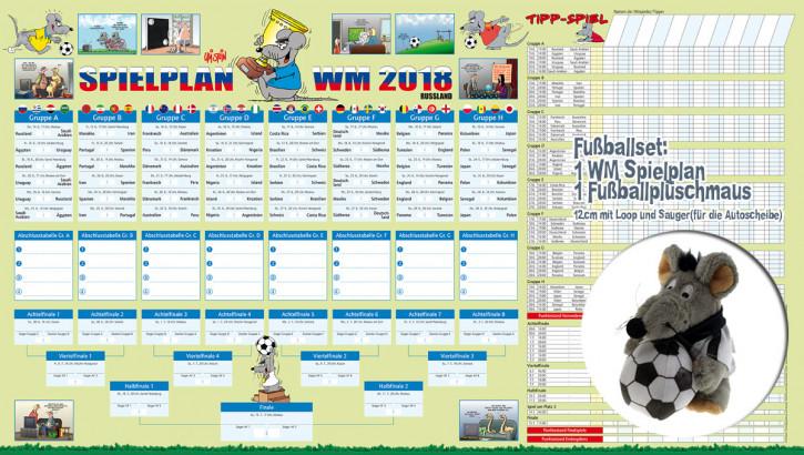 Fußball WM SET Spielplan 2018 mit Tipp Spiel und Plüsch Fußballmaus mit Loop und Sauger