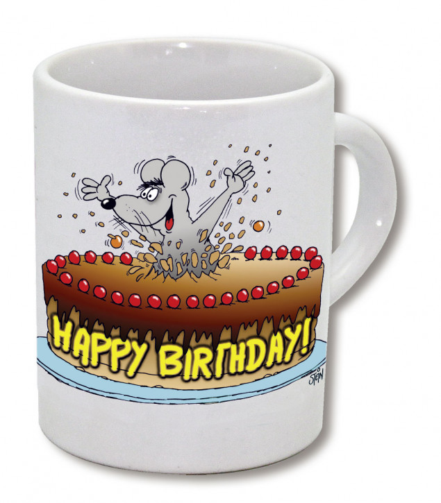 Espressotasse Happy Birthday, Tortenmaus