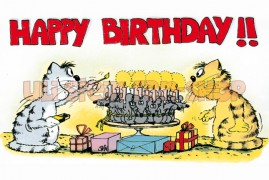 Postkarte Happy Birthday Mäusekuchen