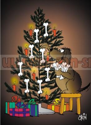 Postkarte Weihnachten / Baumschmuck Hund