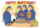 Postkarte Happy Birthday Feuerwehr