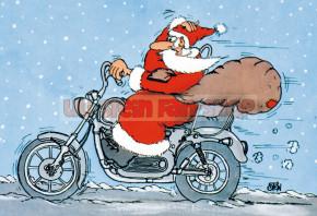 Postkarte Weihnachten / Weihnachtsmann Motorrad