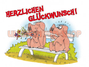 Postkarte Herzlichen Glückwunsch, Schweine