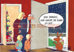 Postkarte Weihnachten / Weihnachtshase