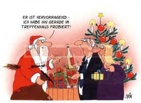 Postkarte Weihnachten / Im Treppenaus probiert
