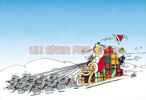 Postkarte Weihnachten / Schlitten