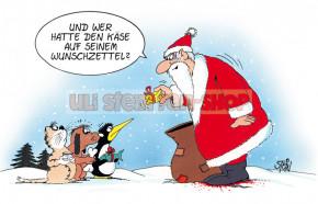 Postkarte Weihnachten / Käse auf dem Wunschzettel
