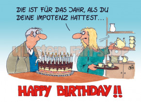 Postkarte Happy Birthday, Impotenz