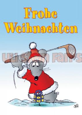 Postkarte Weihnachten / Golf