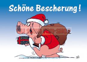 Postkarte Weihnachten / Schöne Bescherung