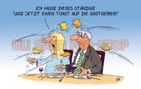 Postkarte Einen Toast auf die Gastgeber