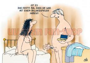 Postkarte Billardspieler
