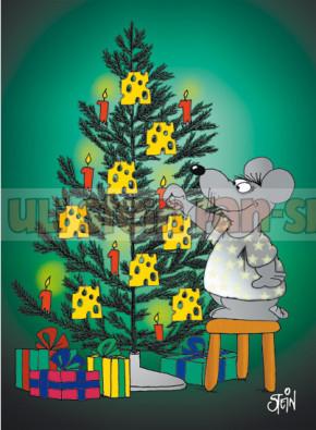 Postkarte Weihnachten / Baumschmuck Maus