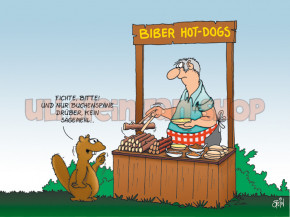 Postkarte Biber Hot-Dogs