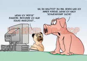 Postkarte Möpse und Schweinkram
