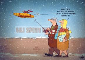 Postkarte Weihnachten / Flugzeug