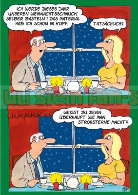 Postkarte Weihnachten / Strohsterne