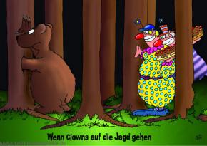 Postkarte / Wenn Clowns jagen