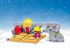 Klappkarte Weihnachten / Mausefalle