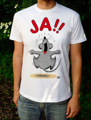 Uli Stein T-Shirt weiss JA! Maus L